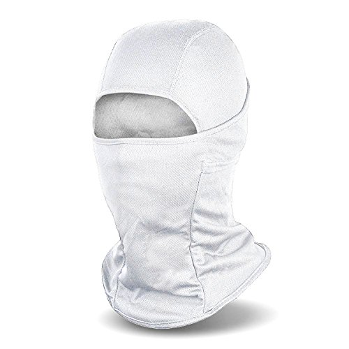 All White Mask (Balaclava Windproof Ski Mask Cold Weather Face Mask Motorcycle Neck Warmer or Tactical Hood Ultimate Thermal Retention in Outdoors Super Comfortable Hypo-allergenic Moisture Wicking, White)