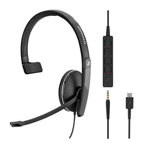 - Sennheiser SC 135 USB-C (508355) - Single-Sided (Monaural) Headset for Business Professionals | with HD Stereo Sound, Noise-Canceling Microphone, USB-C Connector (Black)