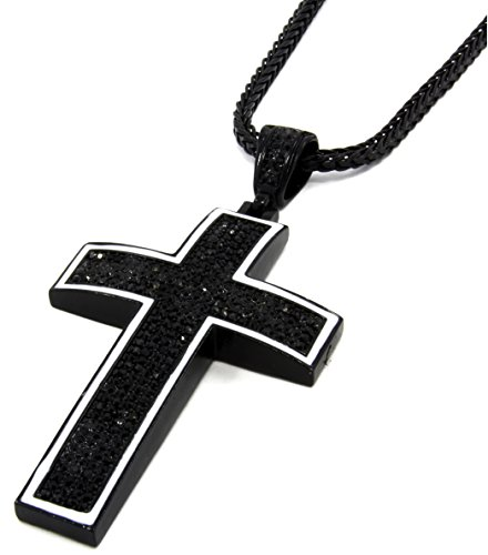 Mens Black Tone White Outline Iced Out Cross Pendant Hip-Hop 36