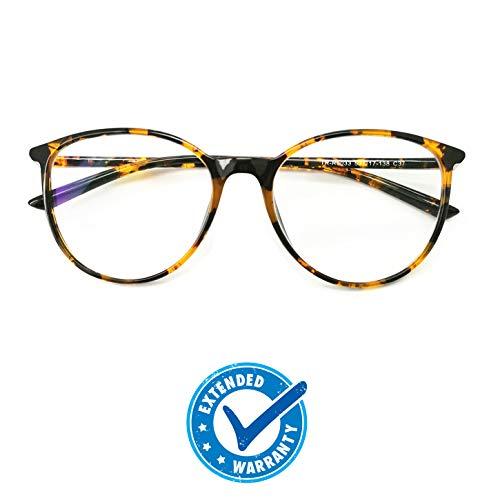 Blue Light Blocking Computer Glasses - Round Light Weight Comfortable Fit Anti Eye Strain Anti Glare UV 400 ()