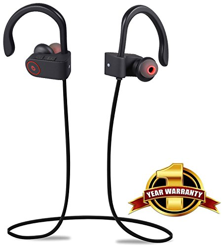 B-sea Wireless Bluetooth Headphones, Noise Cancelling Sport Headset with Mic and Secure Ear hooks