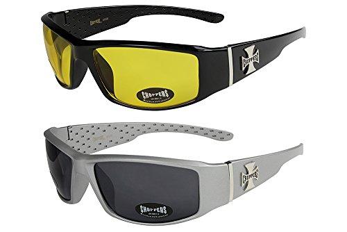 2er Pack Choppers 6608 X 04 Sonnenbrillen Unisex Herren Damen Männer Frauen Brille - 1x Modell 01 (schwarz glänzend/schwarz getönt) und 1x Modell 13 (schwarz glänzend/nur ganz gering blau getönt) blRvnvHBHF