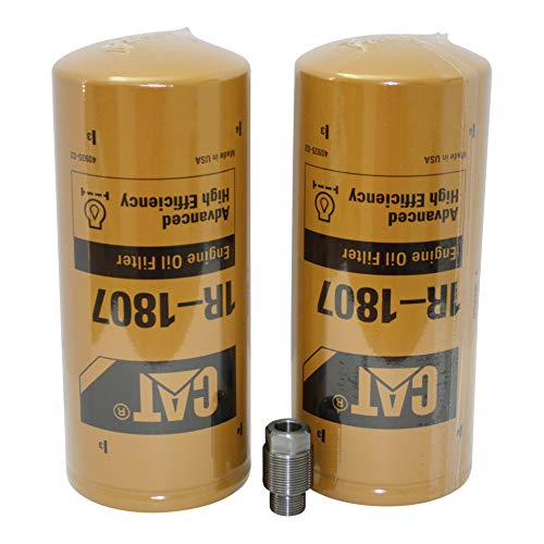 K-Trans F-1 and 2 Cat Oil Filter 1R-1807 for Duramax Engines - Oil Filter Adapter Kit