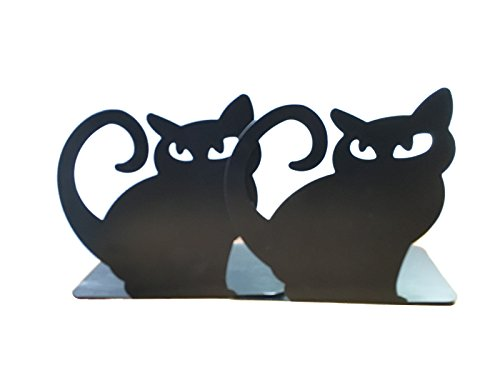 Cute Animal Theme Cat Bookends Decorative Book End Non Skid Heavy Metal Bookends Books Organizer for Home Office School
