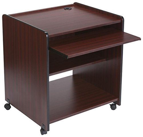 Displays2go Rolling Computer Stand, 4 Casters, Fixed Shelf, Pullout Tray, MDF & Melamine - Mahogany (LCKDMWCSM) by Displays2go