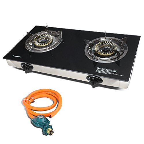 Magshion Modern Double Glass Top Portable Propane Gas Stove Burner With Hose & (Glass Propane Burners)