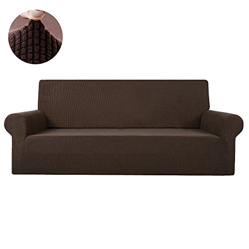 Scorpiuse Jacquard Stretch Sofa Cover Spandex Fabric Fitted Couch Slipcover Protector (Loveseat, Chocolate)