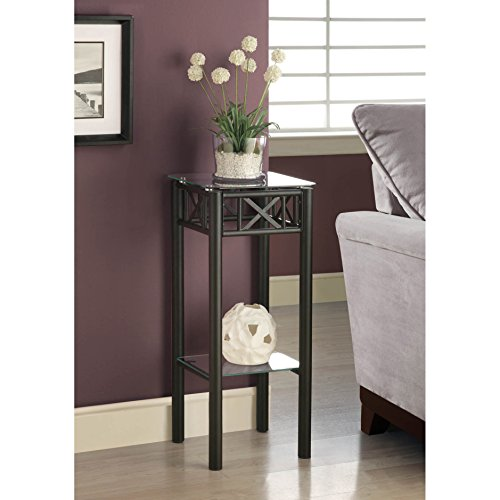 Metro Shop Tempered Glass Top Black Plant Stand-BLACK METAL PLANT STAND WITH A TEMPERED GLASS TOP