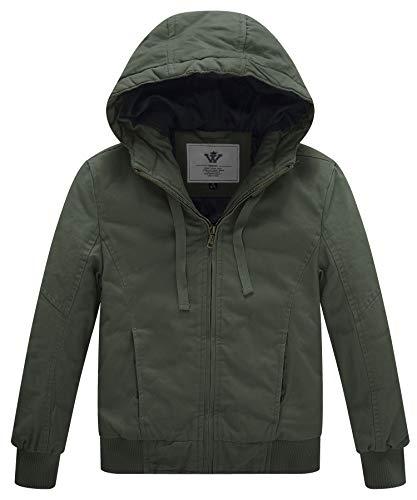 Sweatshirt Field Boys - WenVen Boy's & Girl's Winter Thicken Outdoor Coat Jacket with Hoodie(Army Green,X-Small-6-7)