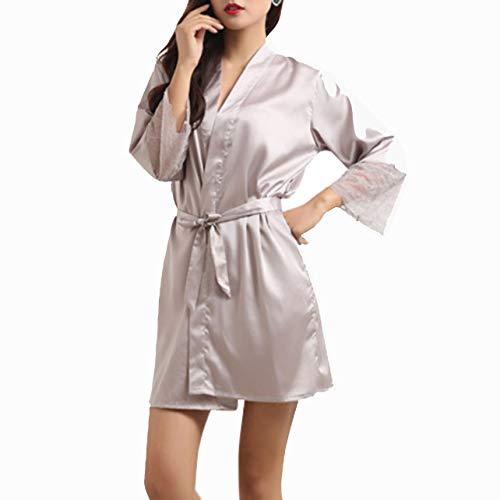 Mid-Sleeve Sexy Women Deep-V Nightwear Robes Plus Size Lace Silk Female Bathrobes Sleepwear,Grey,L