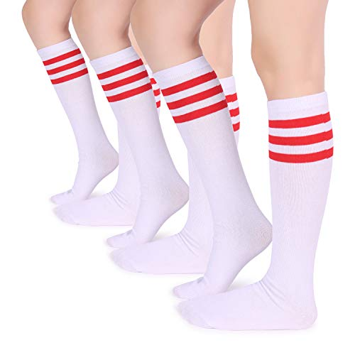Pareberry Casual Cotton Solid & Triple Stripe Colors Knee High Tube Socks-3 Pairs (3-Pairs(Red/White))