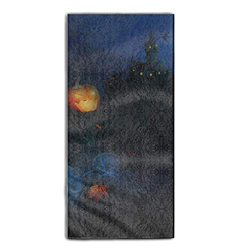 Holiday Halloween Castle Moon Bat Skeleton Tombstone Jack-o-lantern Dish Towels, 11.8 × 27.5