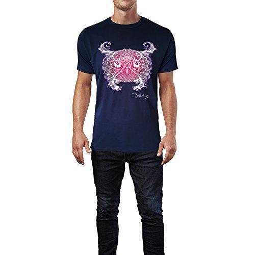 SINUS ART ® Fliederfarbene Eule mit Ornamenten Herren T-Shirts in Navy Blau Fun Shirt mit tollen Aufdruck