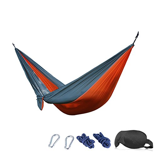 Camping Hammock - 210T Parachute Nylon Portable Heavy-Duty 3D Eye Mask( 230x90 cm, Orange/Gray)