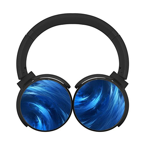 (Gamer chart Spiralwaves Blue Art Stereo Wireless Headphones with Microphone On-ear Foldable Portable Music Headsets for Cellphones Laptop Tablet TV HeadphonesBlack)