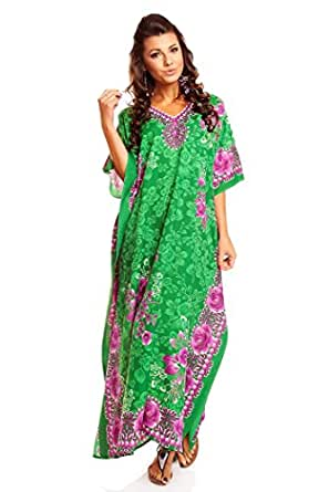 Looking Glam New Ladies Plus Size Maxi Tribal Ethnic Print Tunic Kaftan Evening Party Size 16 18 20 22 24 26 28 30 32