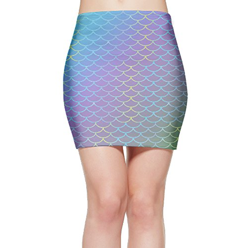 Mermaid Tail Patterns Women's Suit Skirt With Tight Waist Band