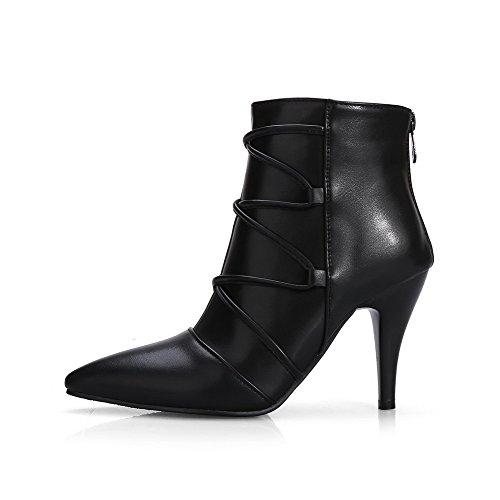 VogueZone009 Damen Hoher Absatz Blend-Materialien Niedrig-Spitze Reißverschluss Stiefel, Schwarz, 35