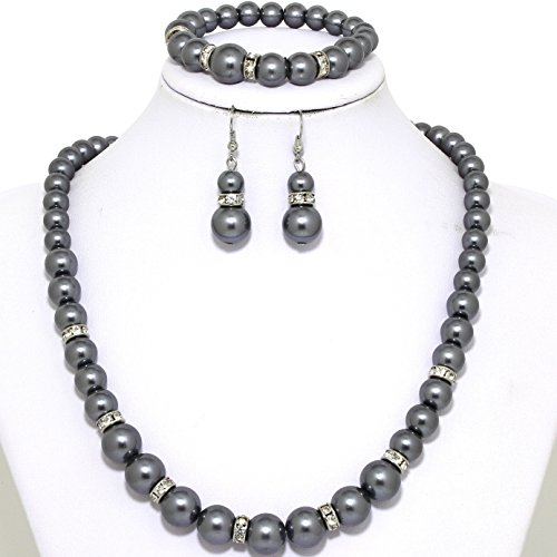 Gray Pearl Necklace Set (AnsonImages Rhinestone Gray Faux Smooth Pearl Necklace Earring Bracelet Set)