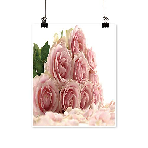 Office Decorationsflower Pink Roses Petals on White backgroun -Abstract Art Painting,28