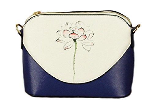 [O-Tokyo] Asian Japanese Style Crossbody Shoulder Bag for Women / Hand Painted (Lotus)