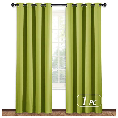 NICETOWN Blackout Curtain Window Panel Drape - (Green Color) Thermal Insulated Window Covering Room Darkening Grommet Top Drapery for Living Room, 52Wx84L, 1 Piece