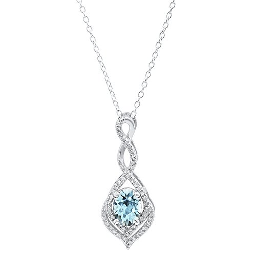 (Dazzlingrock Collection 10K 8X6 MM Oval Aquamarine & Round Diamond Infinity Pendant (Silver Chain Included), White Gold)