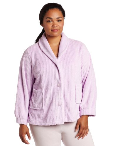 Casual Moments Women's Plus Size Shawl Collar Bed Jacket, Lilac, 2X