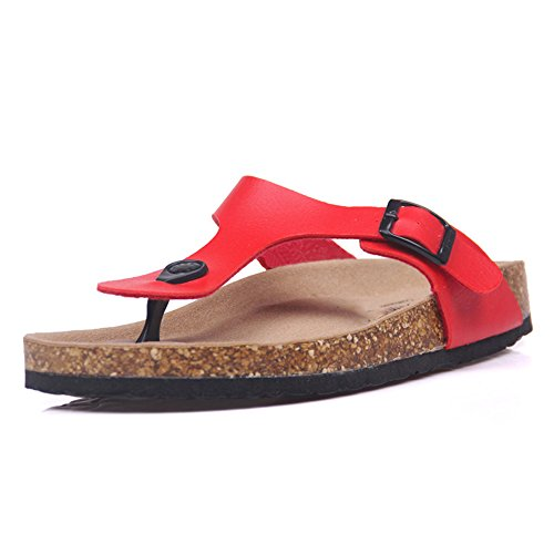 Flip ZHOUZJ Casual Summer Women Red Print Mixed Beach Color Slip Slippers Cork Flops qEEfr