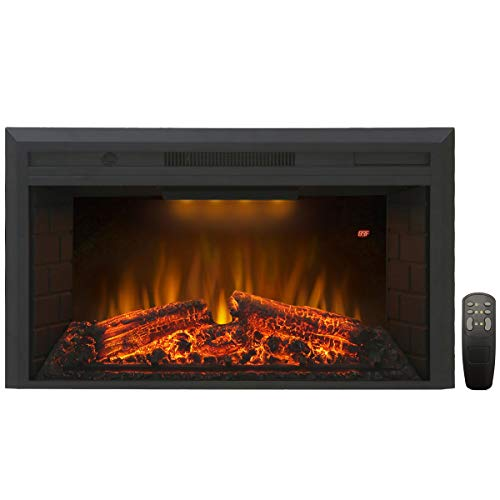 Valuxhome Insert Embedded Fireplace Electric Heater 36 Inches, 1500W, Remote Control, Log Speaker, Black (Insert Modern Fireplace Gas)