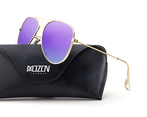MOZON Mirrored Aviator Polarized Sunglasses for Mens & Womens UV-400 - Framed Glasses Purple