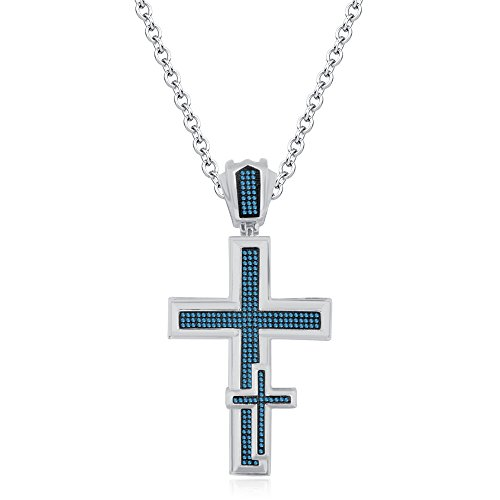 Smjewels 14K Yellow Gold FN Black Sim Diamonds Micro Pave Unisex Religious Cross Pendant by Smjewels
