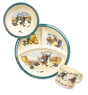 Childrenu0027s u0026quot;Wild Westu0026quot; Melamine Dinnerware Gift Set ft. Images of Horse  sc 1 st  Amazon.com & Amazon.com: Childrenu0027s