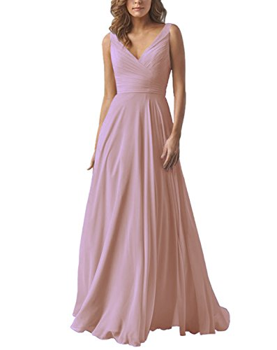 (Women's Chiffon A Line Double V Neck Long Bridesmaid Dress Formal Evening Prom Gown Dustypink US4)