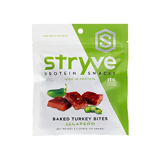 (Stryve Jalapeno Turkey Bites | Low Fat, Low Carb, Low Sugar | 11g Protein | 2.5oz | All Natural, Gluten Free, No Additives)