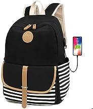 FLYMEI Canvas Laptop Bag Cute School Backpack College Bookbag Shoulder Daypack Casual Travel Bags for Teen Gir