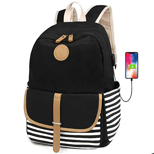 FLYMEI Canvas Laptop Bag Cute School Backpack College Bookbag Shoulder Daypack Casual Travel Bags with USB Charging Port for Teen Girls and Women