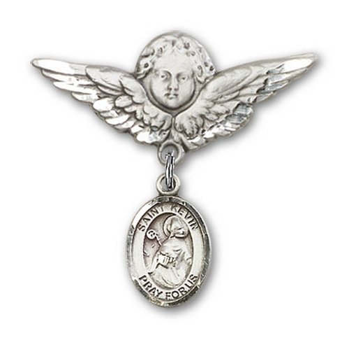 Icecarats Créatrice De Bijoux En Argent Sterling St. Kevin Charme Ange Broche De Badge 1 1/8 X 1 1/8