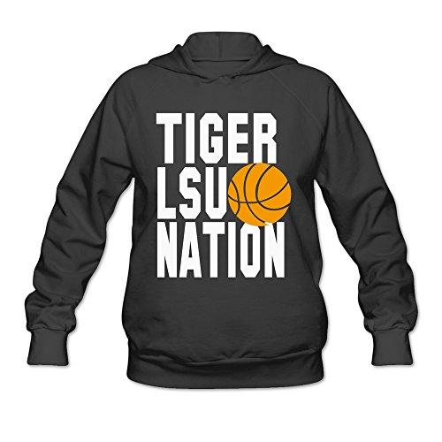 Women LSU Tiger Nation Basketball Hoodies Black 100% Cotton
