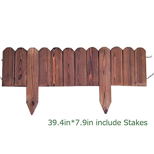 - Creation Core Flexible Solid Wood Garden Edging Tree Plant Flower Picket Border Fence Decorative Lawn Divider,39.4in x 7.9in Include Stakes