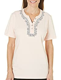 Womens Ocean Drive Embroidered Front Top