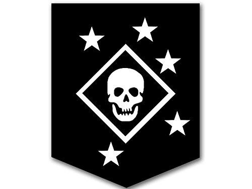 (American Vinyl Black & White MARSOC Marine Raiders Skull and Stars Logo Sticker (USMC Insignia Emblem) )
