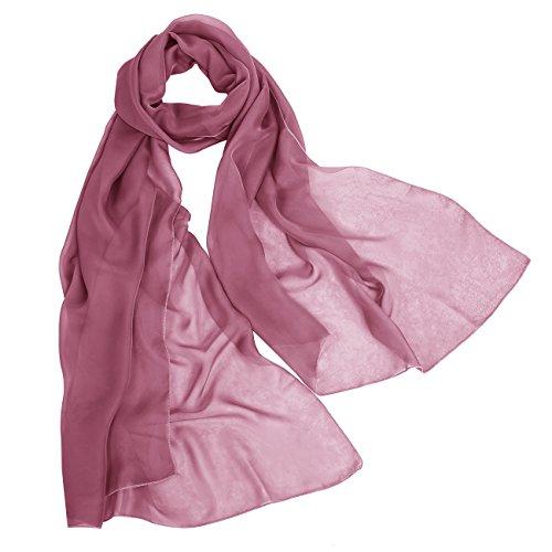Bbonlinedress Women's Soft Sheer Elegant Chiffon Shawl Wrap Wedding Scarf Burgundy 180CM72CM Silk Crochet