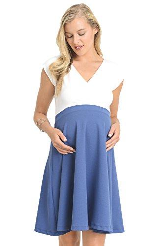 LaClef Women's Surplice Skater Maternity Dress (Large, Ivory/Denim)