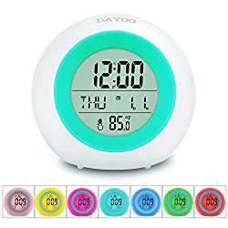 Kids Alarm Clock[2019 Version] , Student Wake Up Digital Clock for School, 7 Color Changing Night Light Clock for Boys Girls Bedroom, Children's Clock with Indoor Temperature, Touch Control and Snooze