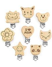 Artestar 6 stuks fopspeen clip hout hout fopspeen ketting clip accessoires fopspeen ketting zelf maken set