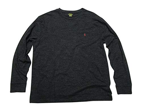 - Polo Ralph Lauren Mens Long Sleeve Crew Neck T-Shirt Pocket Classic Fit (Medium, Black Marl Heather)