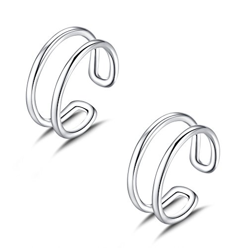 Double Row Ear Cuff in Sterling Silver Rhodium Plated Set of (Pave Cuff)