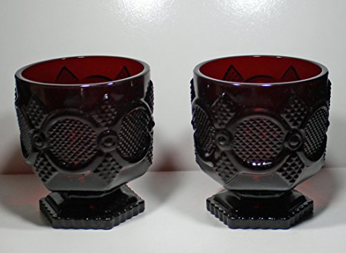 Avon 1875 Cape Cod - Glass Tumbler set, Ruby Red Footed