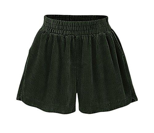 A Corti Pantaloni Shorts Pantaloncini Moda Eleganti Vintage Forti Vita Taglie Donna Coste Verde Grazioso Larghi Alta Velluto Casual r1wXOrxqp